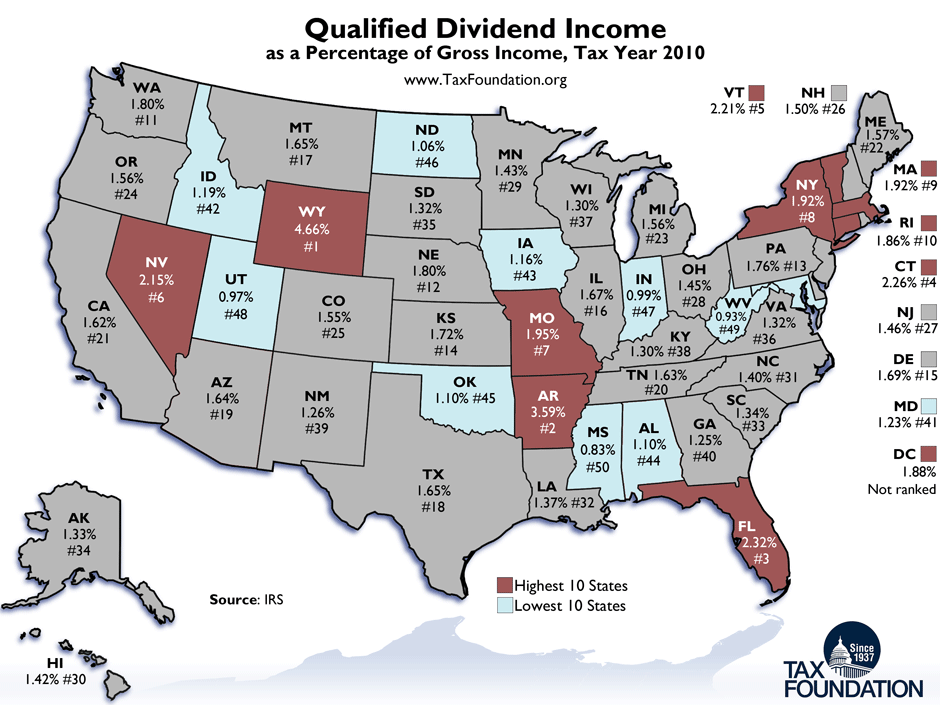 Monday Map Dividend Income By State Tax Foundation