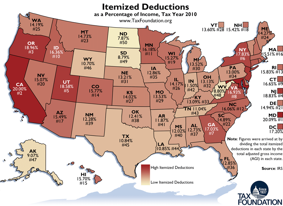 Weekly Map: Itemized Deductions by State - Tax Foundation