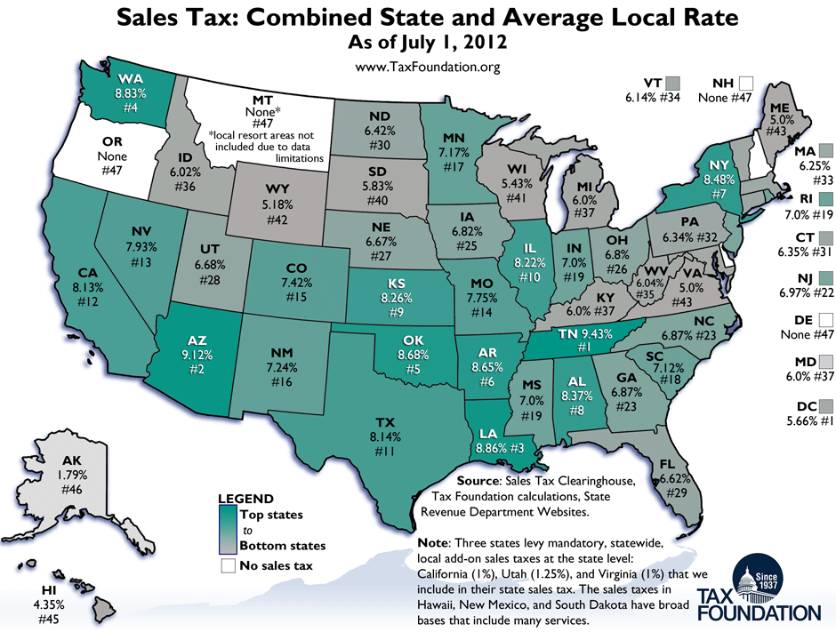 Monday Map: State and Local Sales Tax Rates as of July 1