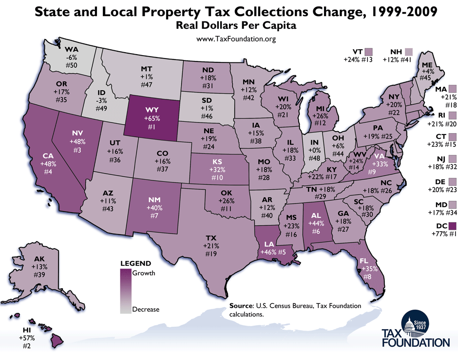 Monday Map State and Local Property Tax Collections Change 1999