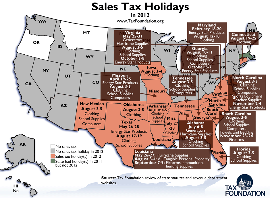 Monday Map Sales Tax Holidays In Tax Foundation - Us sales tax map