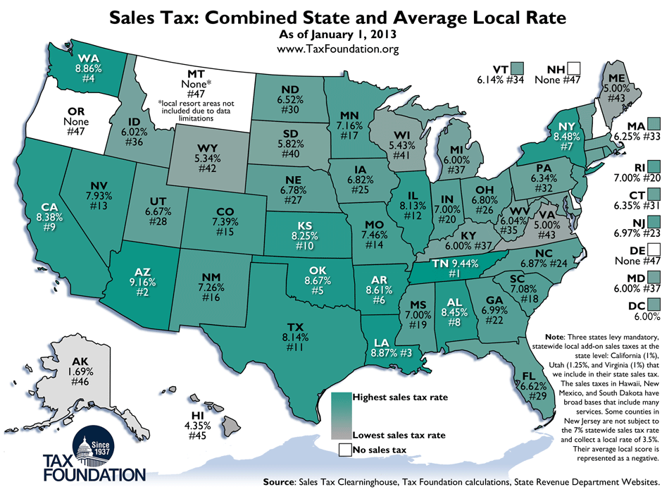 Oregon Sales Tax >> Weekly Map State And Local Sales Tax Rates 2013 Tax Foundation
