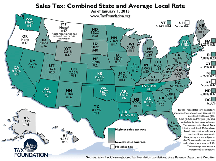 weekly map state and local sales tax rates 2013 tax foundation. Black Bedroom Furniture Sets. Home Design Ideas