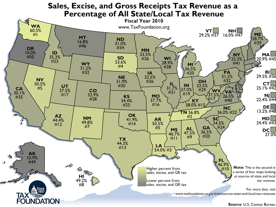 Weekly Map: Sources of State and Local Tax Revenue: Sales ... on mo state map, shawnee state forest topo map, illinois state map, shawnee state park map,