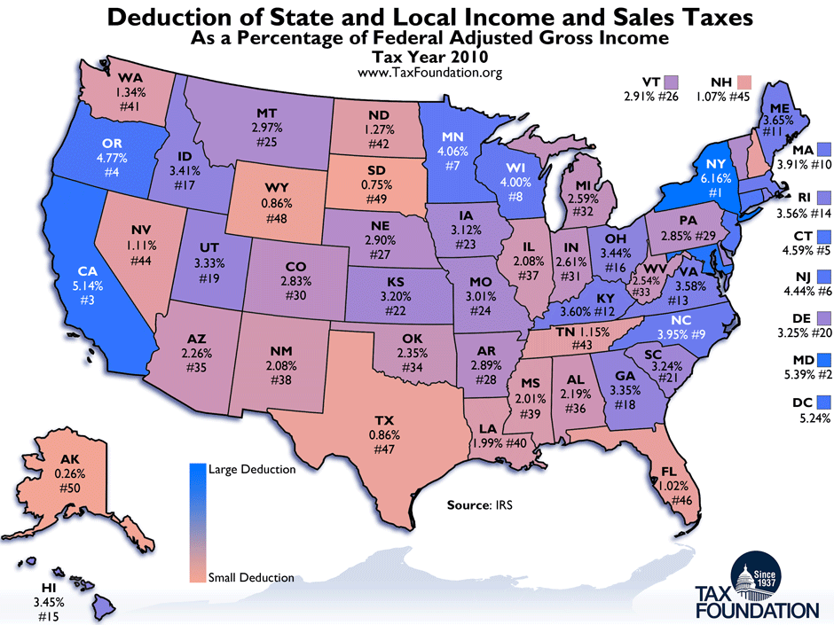 Purple State Map.Monday Map State And Local Tax Deductions Tax Foundation